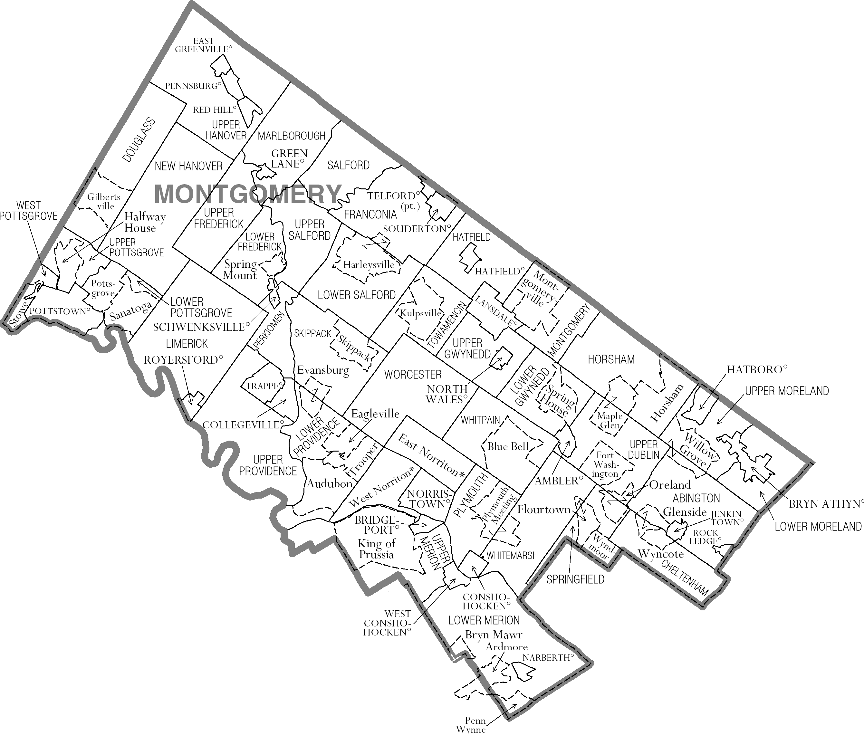 Montgomery County PA Map